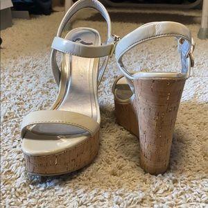 Ivory cork, wedge heels